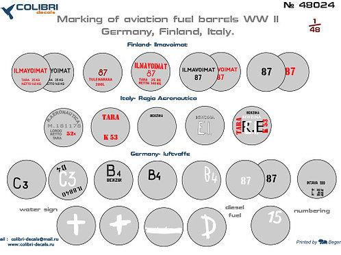 48024 Colibri Decals 1/48 Декали авиационные топливные бочки 2МВ, Германия и др.