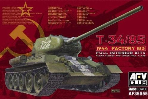 Советский танк Т-34/85, 1944 год, завод №183, полный интерьер - AFV Club AF35S55