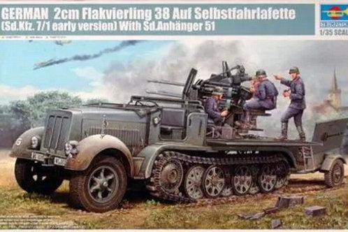 Тягач Sd.Kfz.7/1 (ранний) с 20-мм зениткой Flak 38 - 01523 Trumpeter 1/35