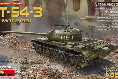 Советская танк Т-54-3 мод. 1951 года, с интерьером - MiniArt 1:35 37007