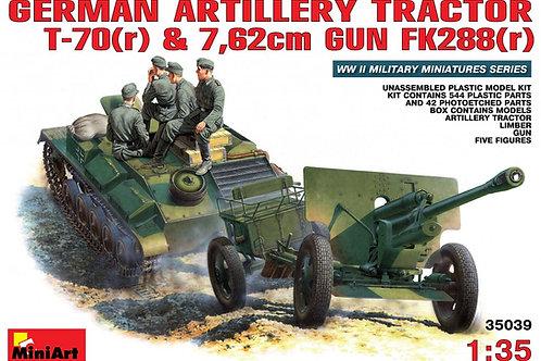 Немецкий тягач Т-70 (r) + пушка 7,62 см Fk 288(r) с экипажем MiniArt 35039 1/35