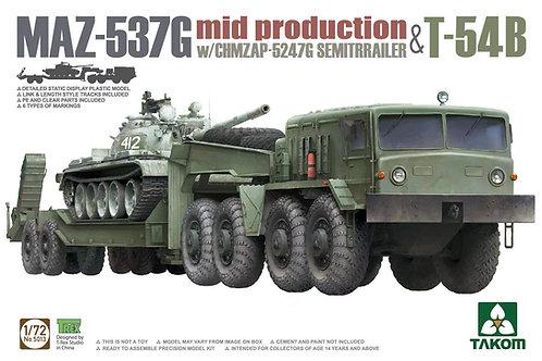 (под заказ) Тягач МАЗ-537Г с тралом и танком Т-54Б - Takom 1:72 5013