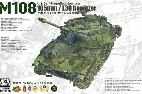 (под заказ) САУ 105mm L/30 howitzer M108 - AFV Club 1:35 AF35108