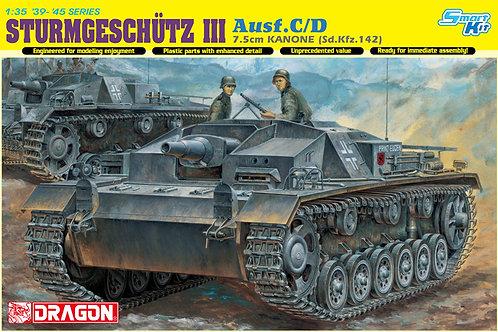 (под заказ) Немецкая САУ StuG.III Ausf C/D с пушкой 75-мм, Dragon 1:35 6851