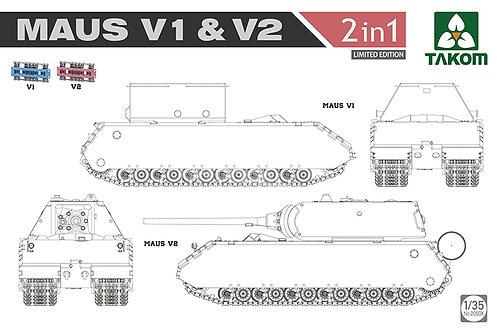 Танк Маус, Maus V1 + V2, набор 2в1, ограниченный тираж - Takom 1:35 2050x