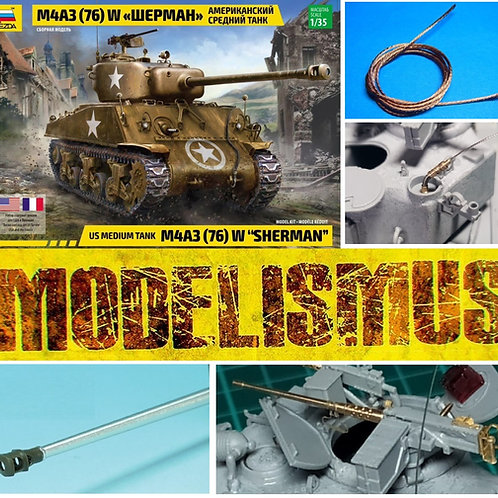 Звезда 3676 1:35 Американский танк Шерман M4A3 (76)W + прокачка Моделизмус