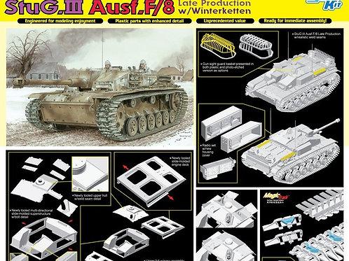 (раритет) StuG.III Ausf.F/8 Late w/Winterketten (Magic траки) - Dragon 6644 1/35