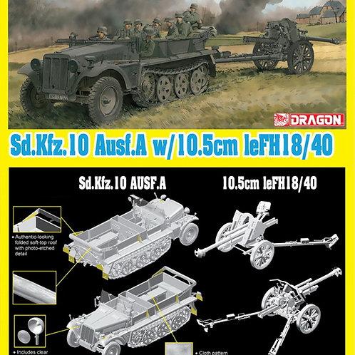 (под заказ) Немецкий тягач Sd.Kfz.10 + гаубица 10.5cm - Dragon 1:35 6939
