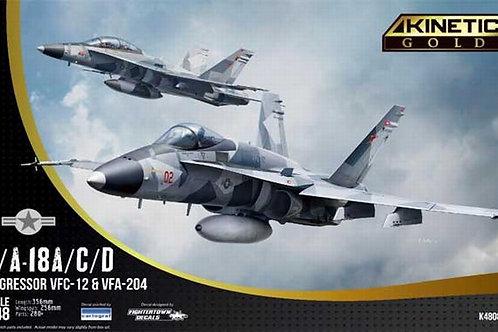 (под заказ) F/A-18A/C/D Aggressor VFC-12 & VFA-204 - Kinetic 1:48 K48088