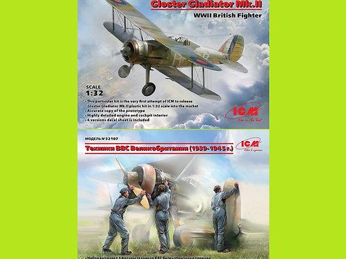 *Комбо 1+1* ICM 32041 Gloster Gladiator Mk.II + Наземный персонал ICM 32107