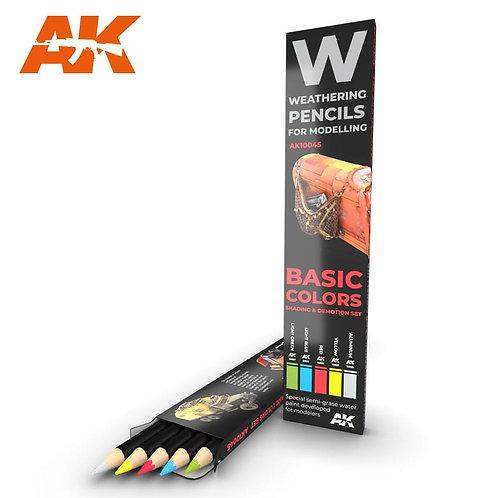 AK-10045 AK Interactive Везеринг карандаши WATERCOLOR PENCIL SET: BASIC COLORS