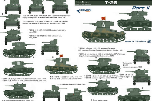 35005 Colibri Decals 1/35 Декали легкие танки Т-26, часть 2