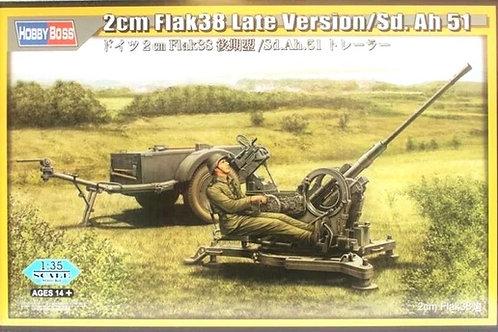 Немецкая зенитка 2 cm Flak 38 Late Version w/Sd. Ah 51 - Hobby Boss 1:35 80148