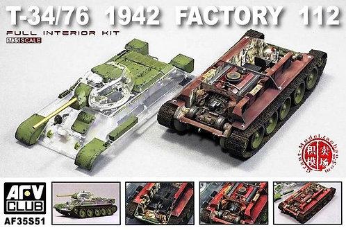 Т-34-76 1942 г, интерьер, прозрачные детали, завод №112 - AFV Club AF35S51 1:35