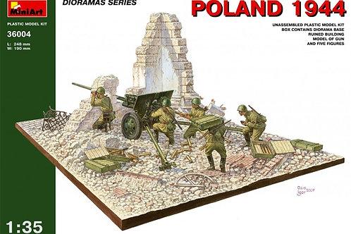 "36004 MiniArt 1/35 Диорама ""Польша 1944 год"", подставка + пушка + фигурки"