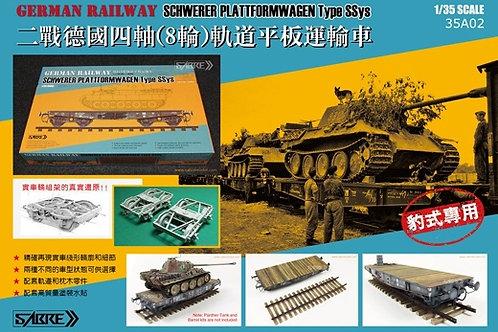 (под заказ) Немецкая ж/д платформа тип SSys до 50 тонн - Sabre Model 1:35 35A02