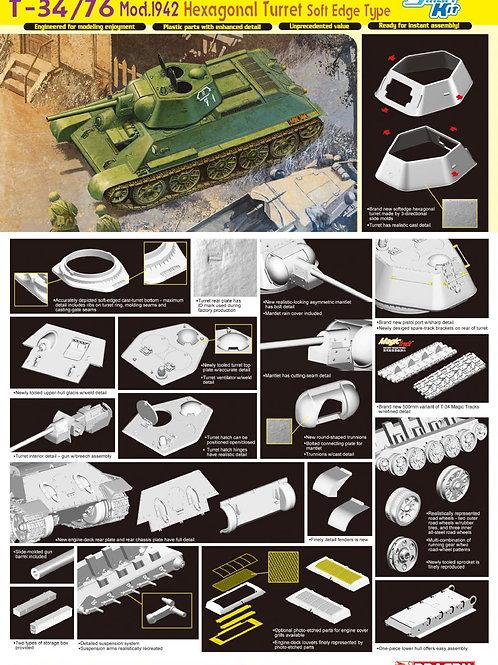 """Советский танк Т-34/76 мод.1942 со скошенной башней (""""гайка"""") - Dragon 6424 1:35"""