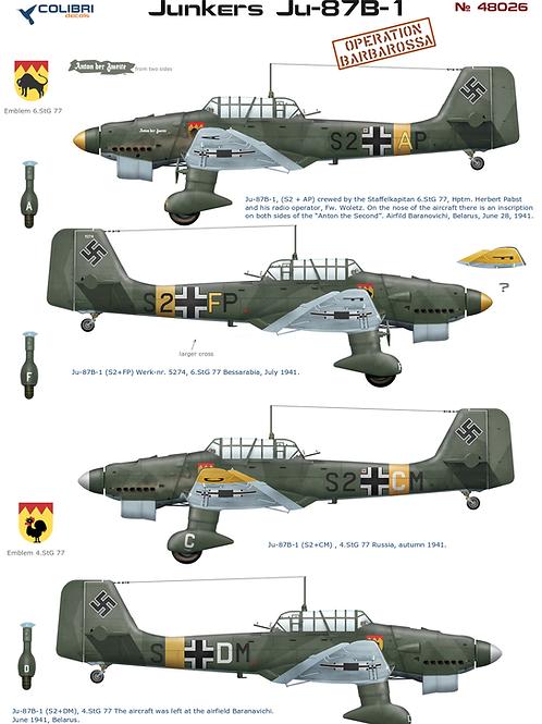 48026 Colibri Decals 1/48 Декали Юнкерс Ju-87 B-1 Операция Барбаросса