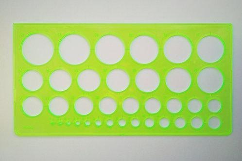 Линейка - трафарет окружностей для создания масок на катки 36 кругов (2-37 мм)