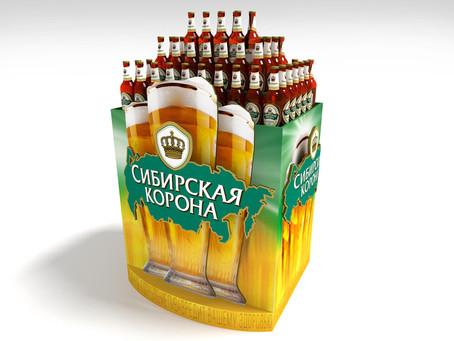 Оформление паллеты и стеллажа пива «Сибирская корона» для компании «САН ИнБев»