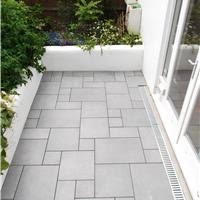 GARDEN PATIO FLOOR TILED IN FLAGSTONE PATTERN