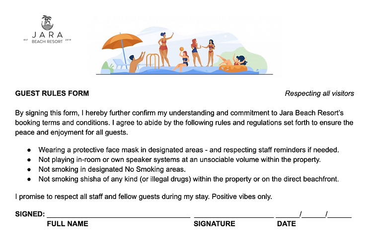 GUEST RULES ARRIVAL FORM