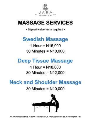 JBR Massage Rates