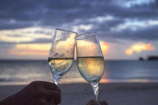 Beach Champagne Cheers