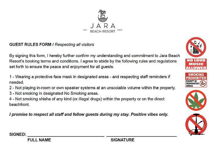 JARA BEACH RESORT TERMS 2021