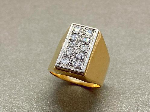Bague en or platine et diamants