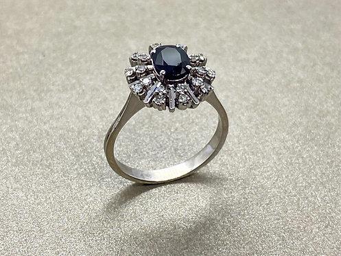 Bague 1930 en or, saphir et diamants