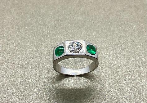 Bague 1930 Art Déco or 750 diamant 0,75 ct et émeraudes