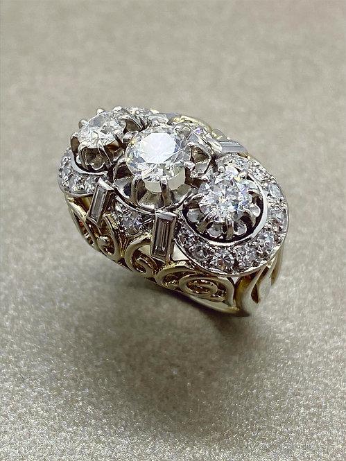 Bague en or, platine et diamants 2,70 carats