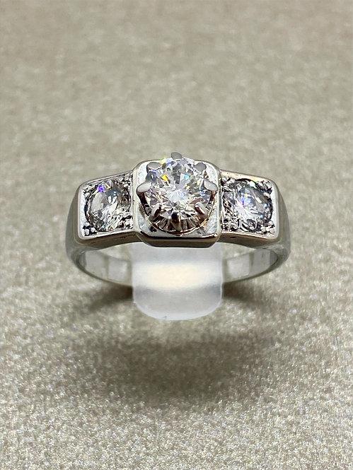 Bague 1930 Art Déco en platine et diamants 1 carat