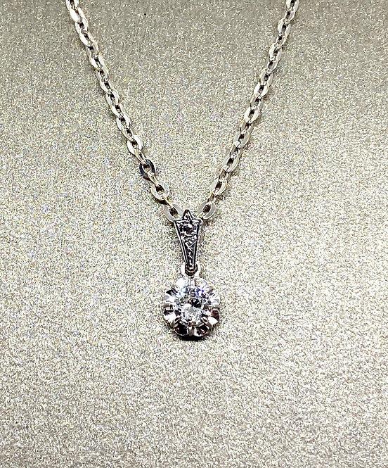 Collier pendentif Art Déco or et diamant 0,60 carat