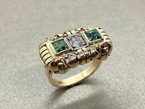 Bague Art Déco en or, diamant et tourmalines