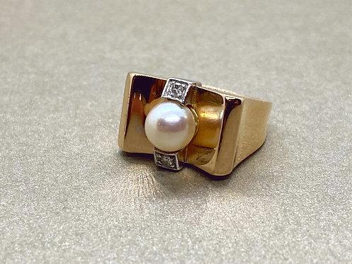 Bague Tank en or, platine et diamants