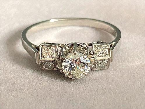 Bague Art Déco en platine et diamant 0,50 carat