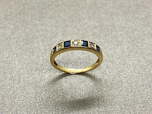 Bague 1940 en or, saphir et diamants