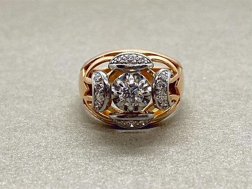 Bague 1940 en or, platine et diamants