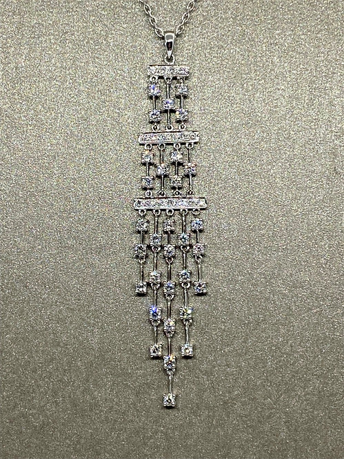 Pendentif Art Déco à pampilles en or et diamants