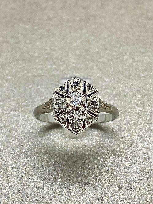 Bague Art Déco or et diamants