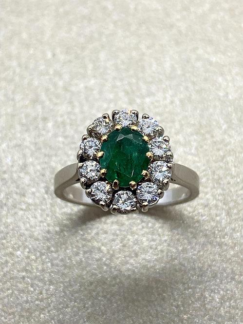 Bague 1930 en or, émeraude et diamant