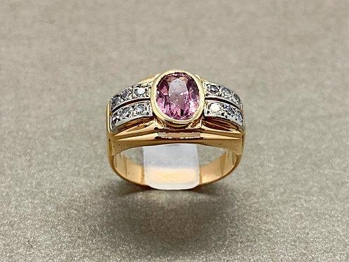 Bague Art Déco en or, tourmaline rose et diamants