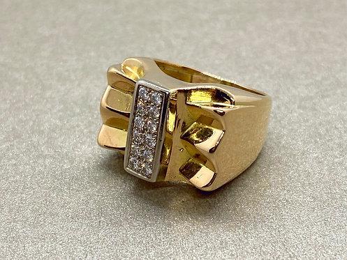 Bague Tank noeud en or et diamants