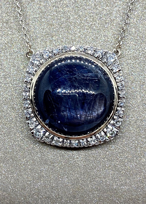 Collier pendentif en or saphir cabochon et diamants