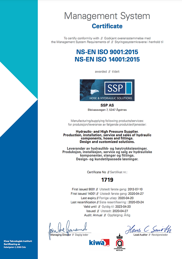 Management System Certificate SSP AS