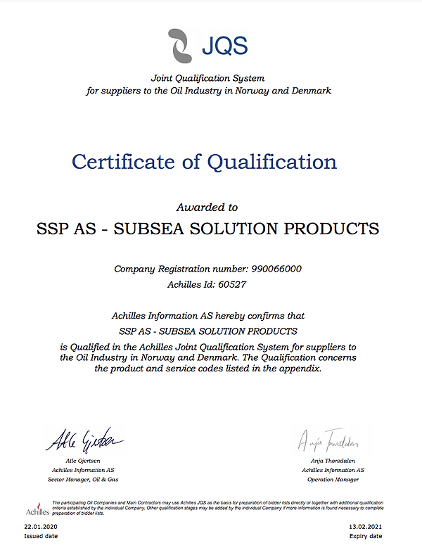 Certificate of Qualification SSP AS