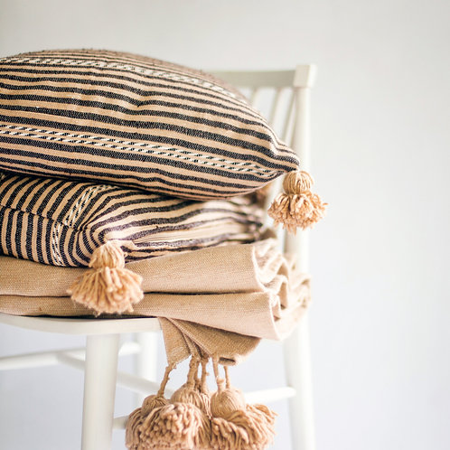 Striped Pillow with Poms