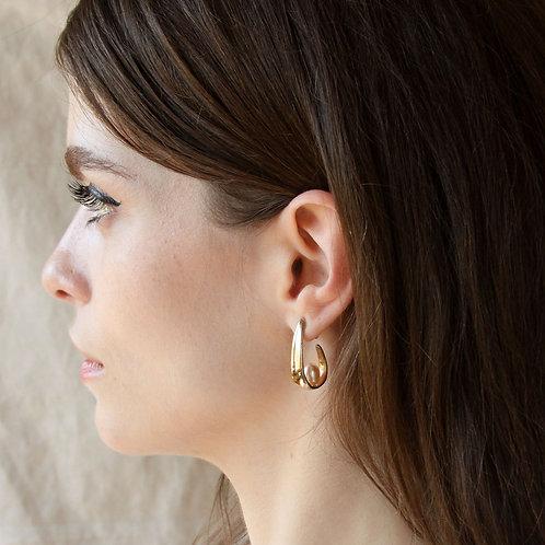 Pearl Scoop Earrings